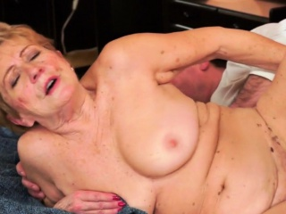 Hairy grandma with saggy tits gets fucked