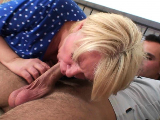 Busty blonde granny pleases an young guy