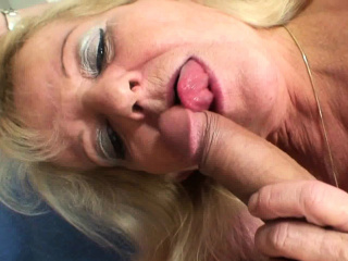 Old blonde mother in white stockings rides his big cock