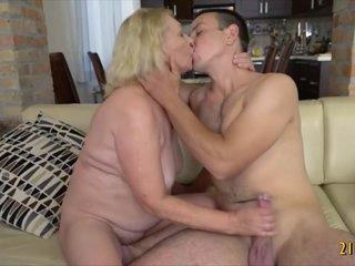 Horny blonde granny enjoys hard cock in her vagina