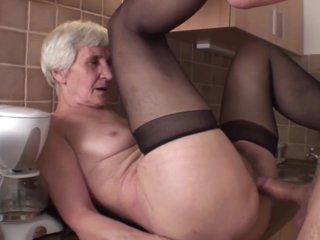 Viviana & Dieter skinny hairy granny in kitchen with Dieter