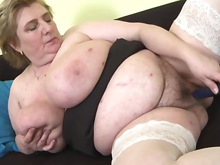 Big mama with big hairy pussy and saggy boobs