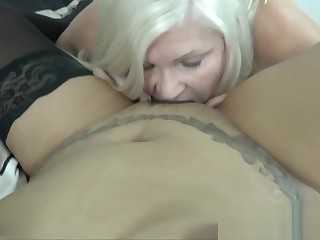 LACEYSTARR - Luscious Asian pussy scissored by granny
