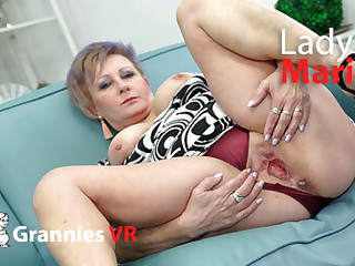 Lady Maria Masturbates on the Couch - SexLikeReal