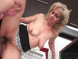Hairy granny doggystyled after a blowjob
