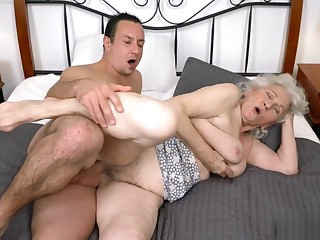 Hot male helper bangs with horny granny Norma B
