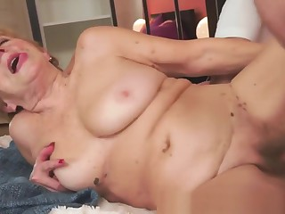Euro Granny Banged And Blasted With Warm Cum