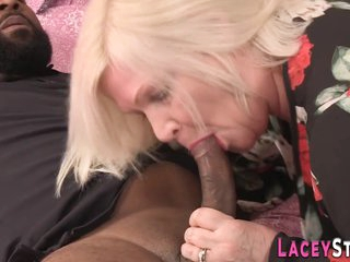 British grandma in interracial threesome