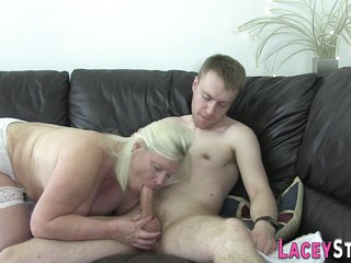 Large-bosomed Grandma Blowing And Riding